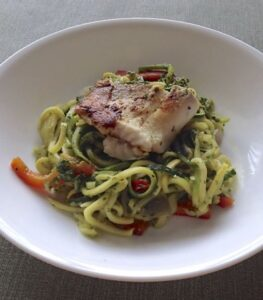 Zucchini Noodles with Skinny Pesto and Tilapia