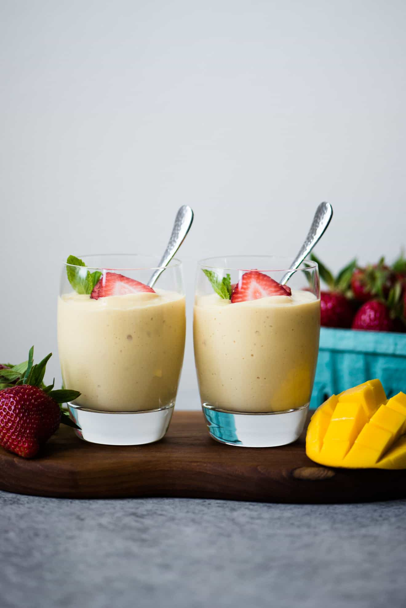 Vegan Mango and Pineapple Mousse - easy dessert made with just 5 ingredients! dairy free + gluten free!