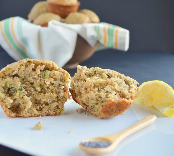 lemon zucchini muffins with poppy seeds and walnuts