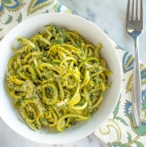 Radish Greens Basil Pesto Noodles | Healthy Nibbles and Bits