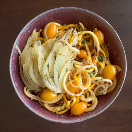 Yellow Squash Noodles with Tomato Basil Sauce