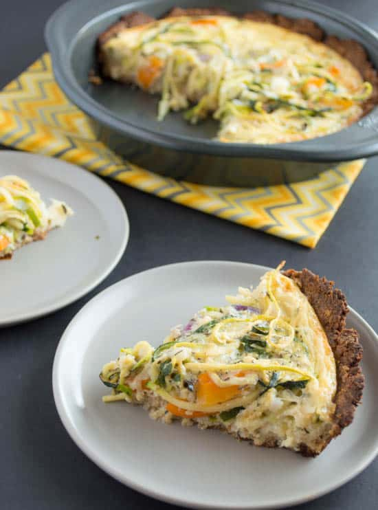 Zucchini Noodle Quiche with Almond-Flax Crust