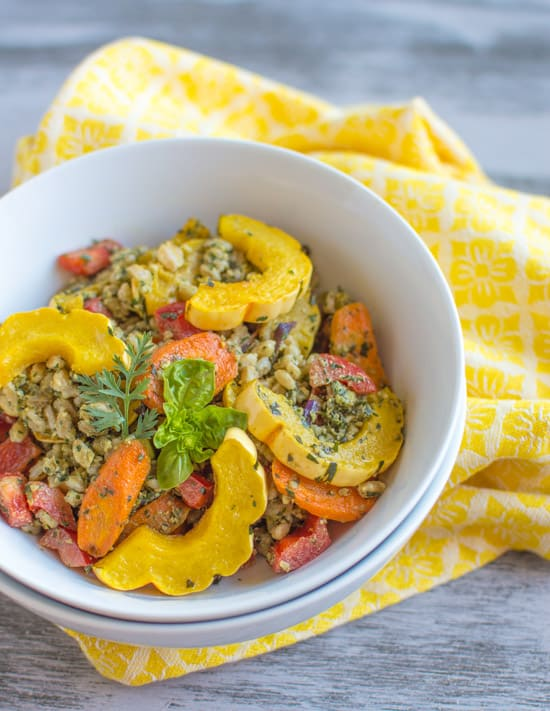 Farro Bowl with Roasted Vegetables & Carrot Top Pesto