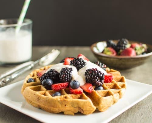 Ginger Oatmeal Waffles with Yogurt Cream