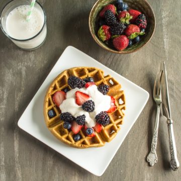 "Ginger Oatmeal Waffles & Yogurt ""Whipped Cream"""
