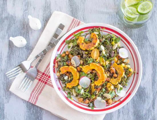 Miso Curry Kale & Delicata Salad | Healthy Nibbles and Bits