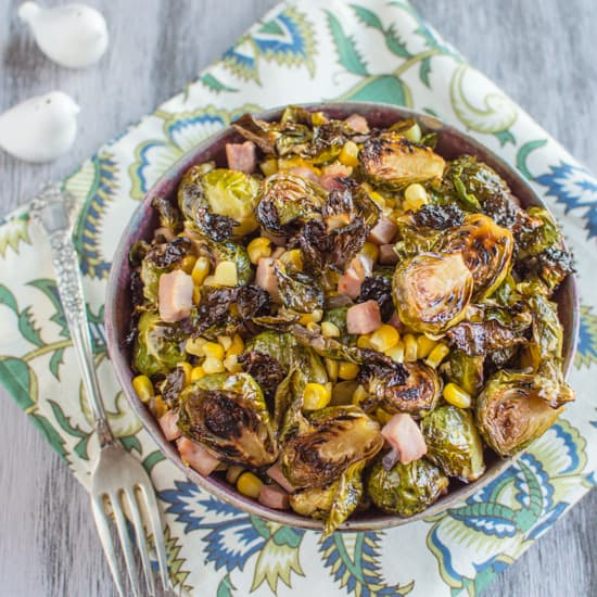 Brussels Sprouts with Ham & Corn