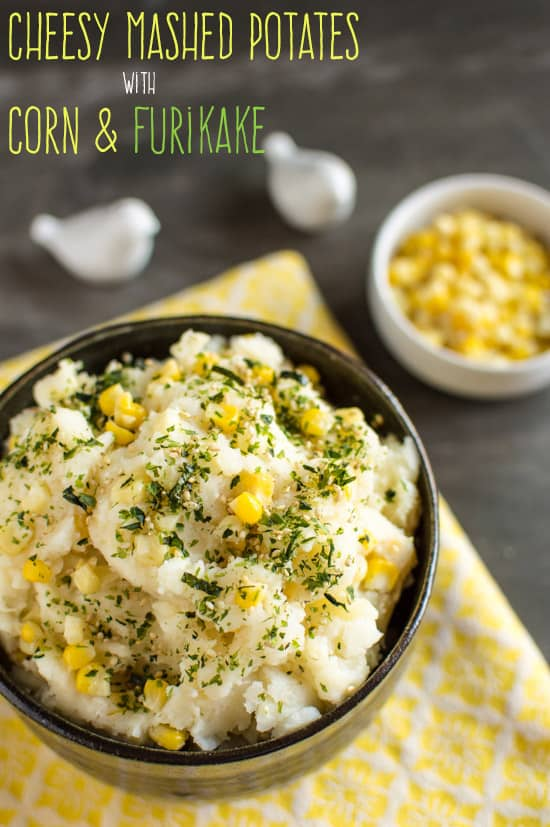 Cheesy Mashed Potatoes with Corn and Furikake | healthynibblesandbits.com