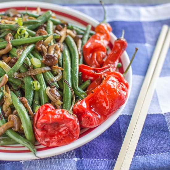 Spicy Green Beans with  Nameko Mushrooms and Shishito Peppers
