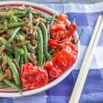 Spicy Green Beans with Nameko Mushrooms and Shishito Peppers | Healthy Nibbles and Bits