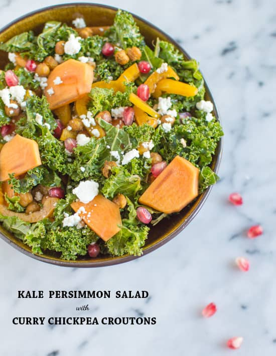 Kale Persimmon Salad with Curry Chickpea Croutons | healthynibblesandbits.com