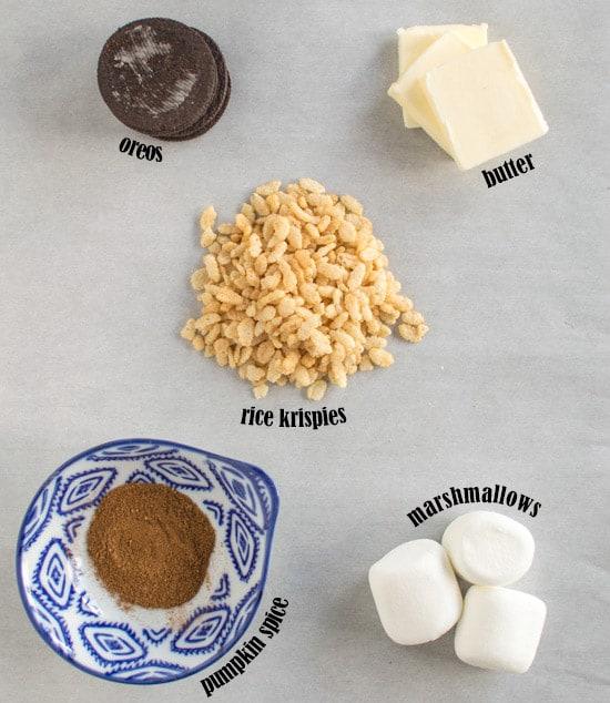 Pumpkin Spice Rice Krispies with Oreos Ingredients | healthynibblesandbits.com