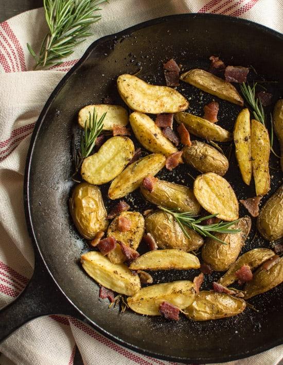Rosemary Roasted Potatoes with Bacon | healthynibblesandbits.com
