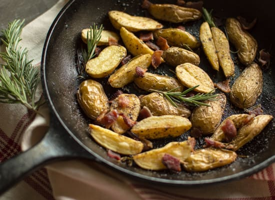 Rosemary Roasted Potatoes with Bacon | healthynibblesandbits.com
