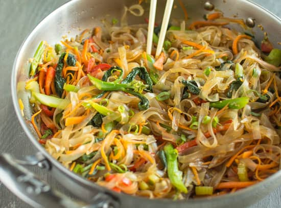 Vegetable Stir Fry Mung Bean Noodles | healthynibblesandbits.com