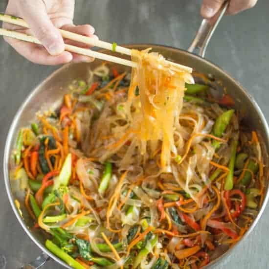 Vegetable Stir Fry Mung Bean Noodles Healthy Nibbles