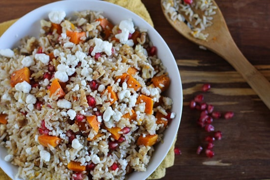 Citrusy Brown Rice with Butternut Squash & Pomegranate