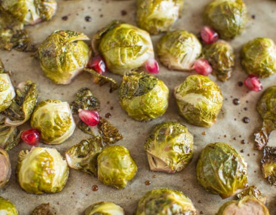 Pomegranate Glazed Brussels Sprouts | healthynibblesandbits.com #vegan