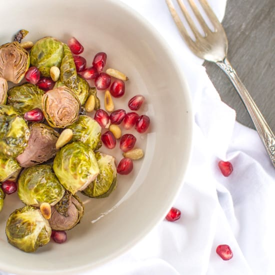 Vegan Pomegranate Glazed Brussels Sprouts