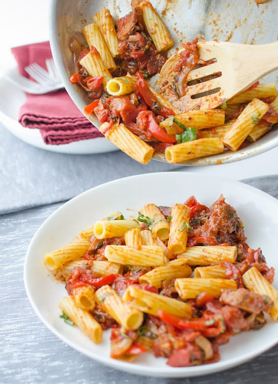 "Rigatoni with Red Pepper & ""Sausage"""