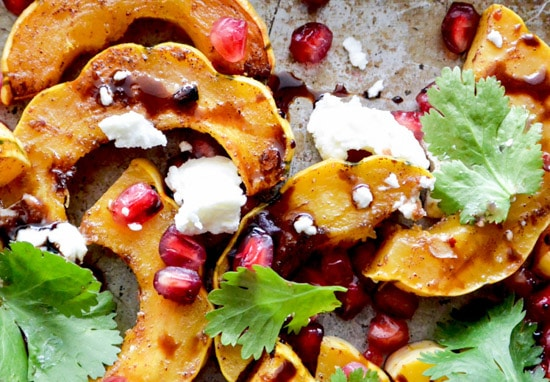 Roasted Squash with Pomegranate & Goat Cheese