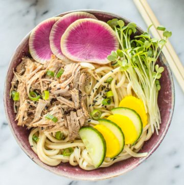 Udon Bowl with Slow Cooker Pork | healthynibblesandbits.com