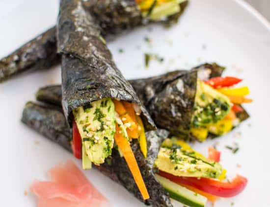 Easy Vgetable Sushi Hand Rolls that are a guaranteed crowd pleaser! #vegan | healthynibblesandbits.com
