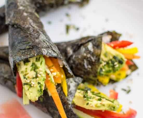 Easy Vegetable Hand Rolls that are a guaranteed crowd pleaser! #vegan #glutenfree | healthynibblesandbits.com