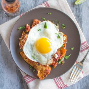 Chilaquiles with Homemade Tomato Sauce & Fried Eggs | healthynibblesandbits.com #glutenfree