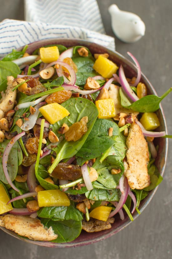 Spinach Salad with Toasted Pita and Hazelnuts | healthynibblesandbits.com #vegan #glutenfree