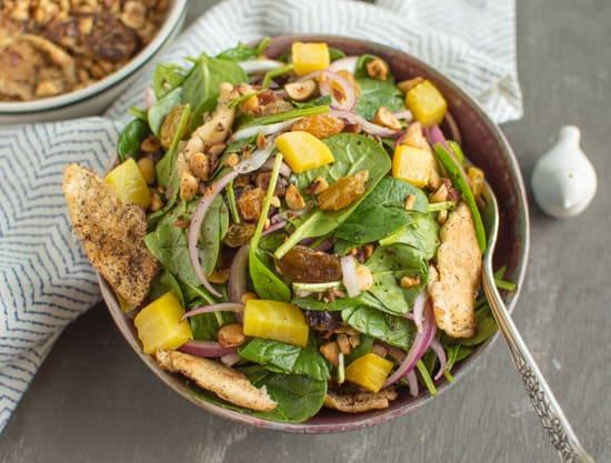 Spinach Salad with Toasted Pita and Hazelnuts   healthynibblesandbits.com #vegan #glutenfree