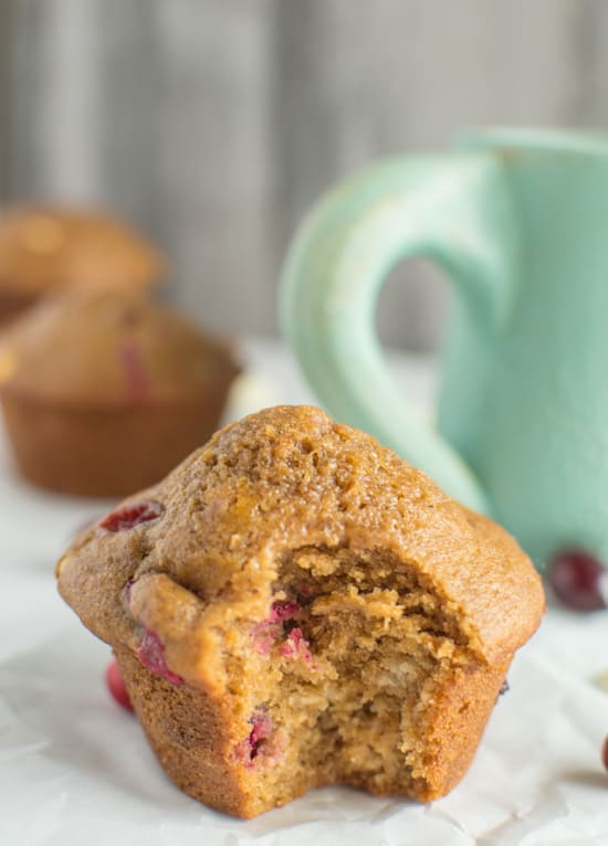 Whole Wheat Orange Cranberry Muffins | healthynibblesandbits.com