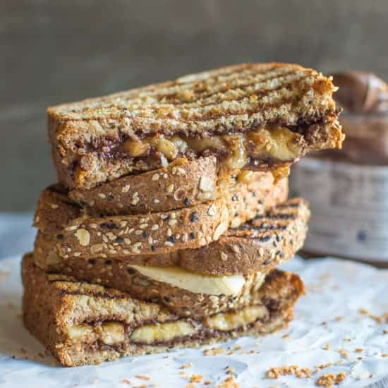 Grilled Banana Nutella Sandwich | healthynibblesandbits.com
