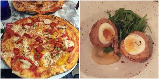 Pizza + Scotch Egg