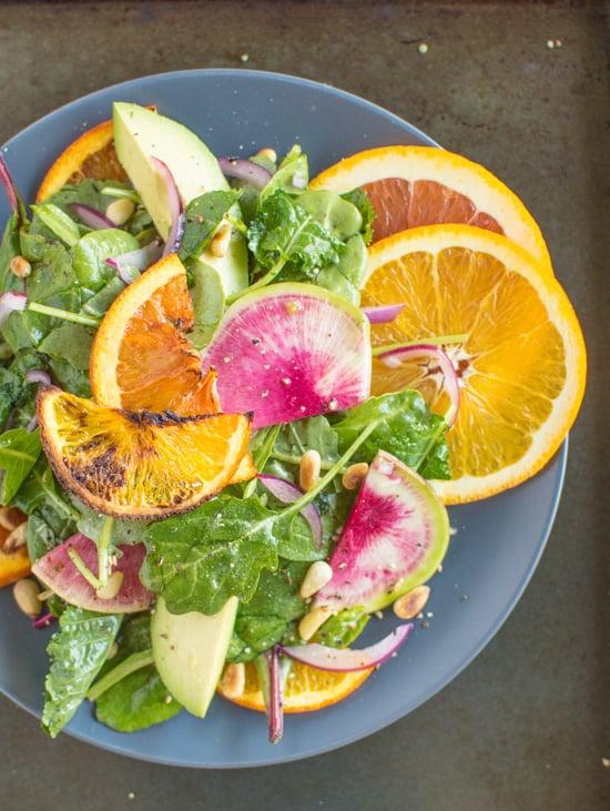 Roasted Orange Rainbow Salad with Asian Orange Vinaigrette   healthynibblesandbits.com