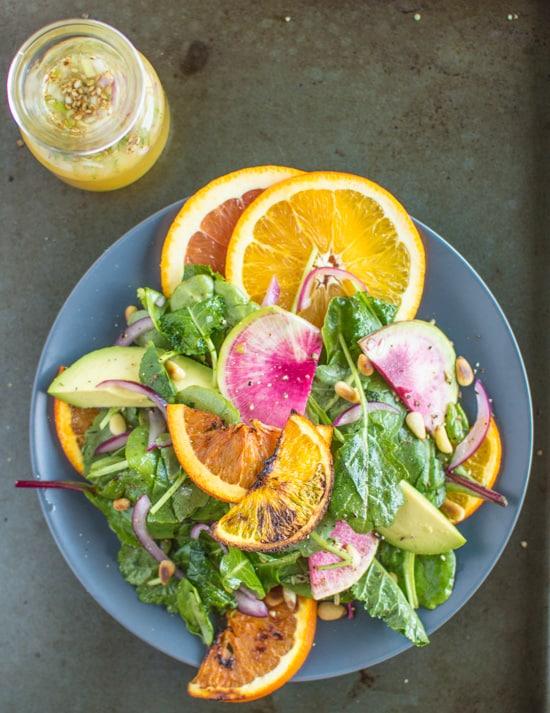 Roasted Orange Rainbow Salad with Asian Orange Vinaigrette | healthynibblesandbits.com