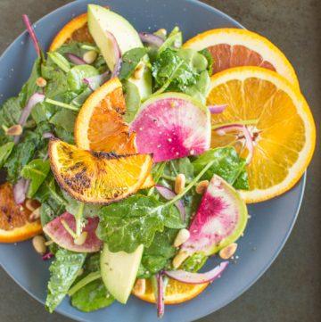 Roasted Orange Rainbow Salad with Asian Orange Vinaigrette