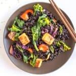 Forbidden Rice Stir Fry & Teriyaki Tofu | healthynibblesandbits.com