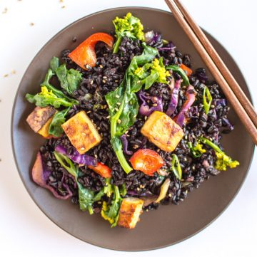 Forbidden Rice Stir Fry with Baked Teriyaki Tofu