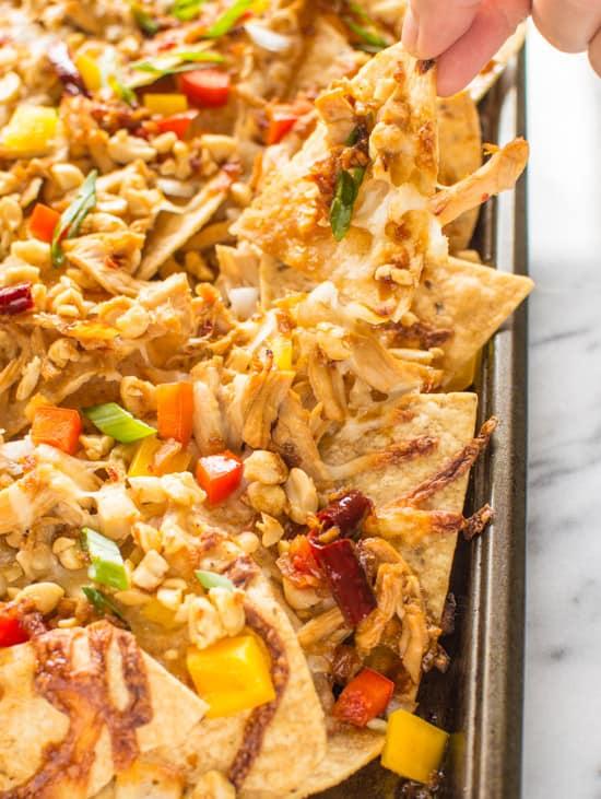 Kung Pao Chicken Nachos | healthynibblesandbits.com