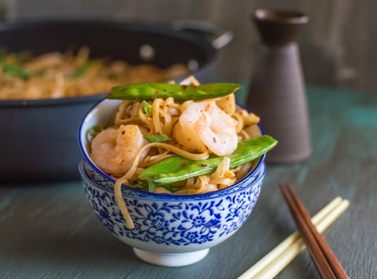 Rice Noodles with Shrimp & Snow Peas | healthynibblesandbits.com #glutenfree @oxo