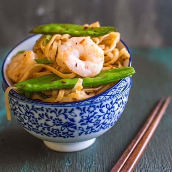 Rice Noodles with Shrimp & Snow Peas | healthynibblesandbits.com