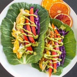 Slow Cooker Curried Chicken Tacos with Avocado Crema   healthynibblesandbits #glutenfree