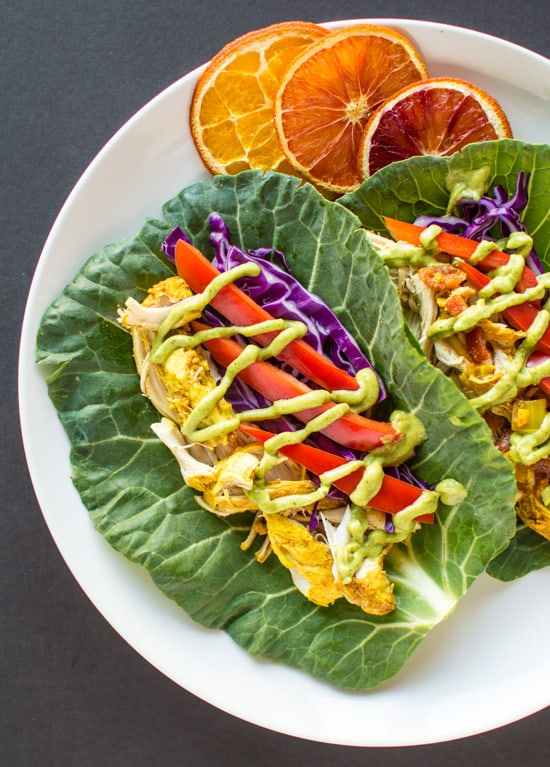 Slow Cooker Curried Chicken Tacos with Avocado Crema | healthynibblesandbits #glutenfree