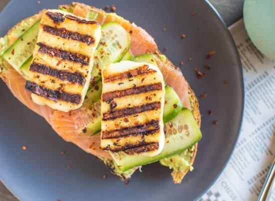 Smoked Salmon and Grilled Halloumi Avocado Toast   healthynibblesandbits.com