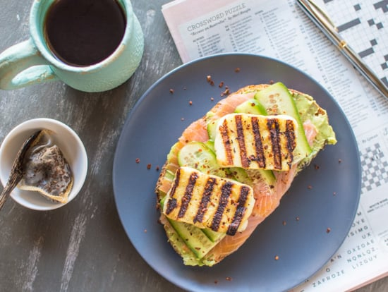 Smoked Salmon and Grilled Halloumi Avocado Toast | healthynibblesandbits.com