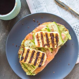 Smoked Salmon and Grilled Halloumi Avocado Toast | healthynibblesandbits.com