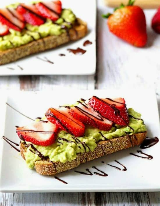 strawberry and avocado toast with chocolate drizzle