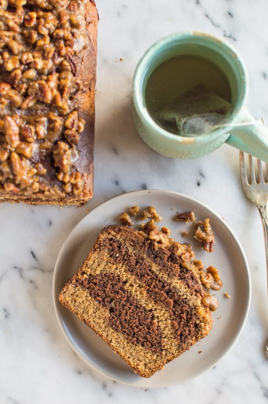Banana Chocolate and Peanut Butter Swirl Bread with Pecan Praline | healthynibblesandbits.com #glutenfree