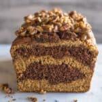 Banana Chocolate and Peanut Butter Swirl Bread with Pecan Praline | healthynibblesandbits.com #glutenfree